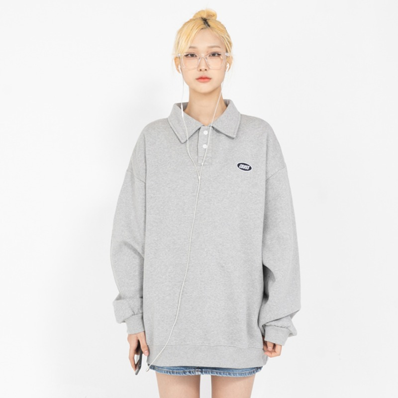 CIRCLE LOGO COLLAR SWETSHIRTS_GREY