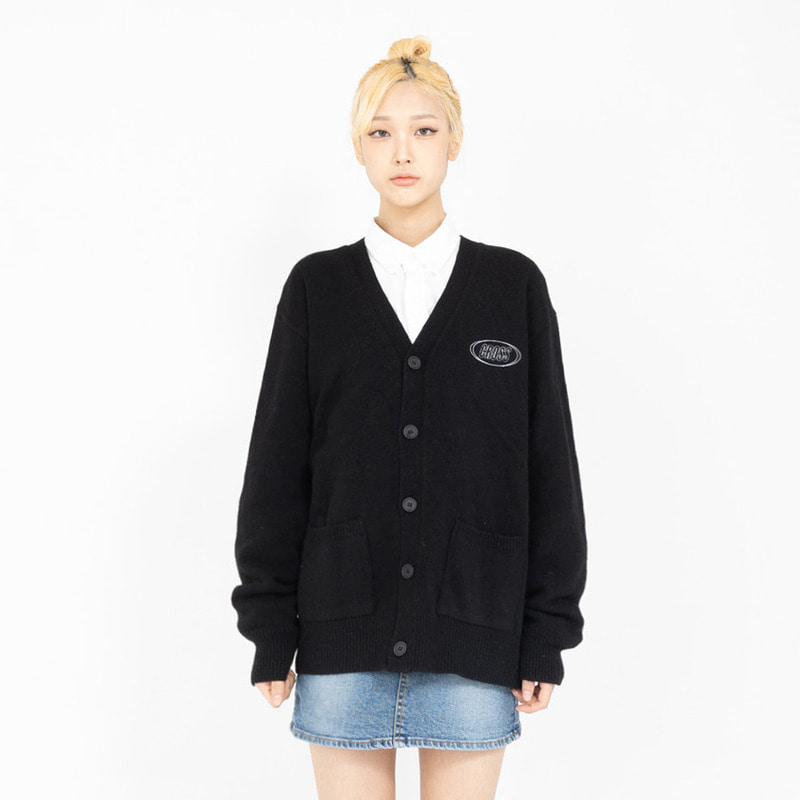 CIRCLE LOGO BASIC CARDIGAN_BLACK