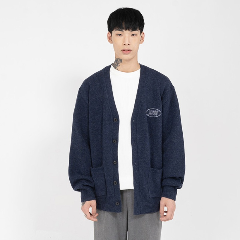 CIRCLE LOGO BASIC CARDIGAN_NAVY