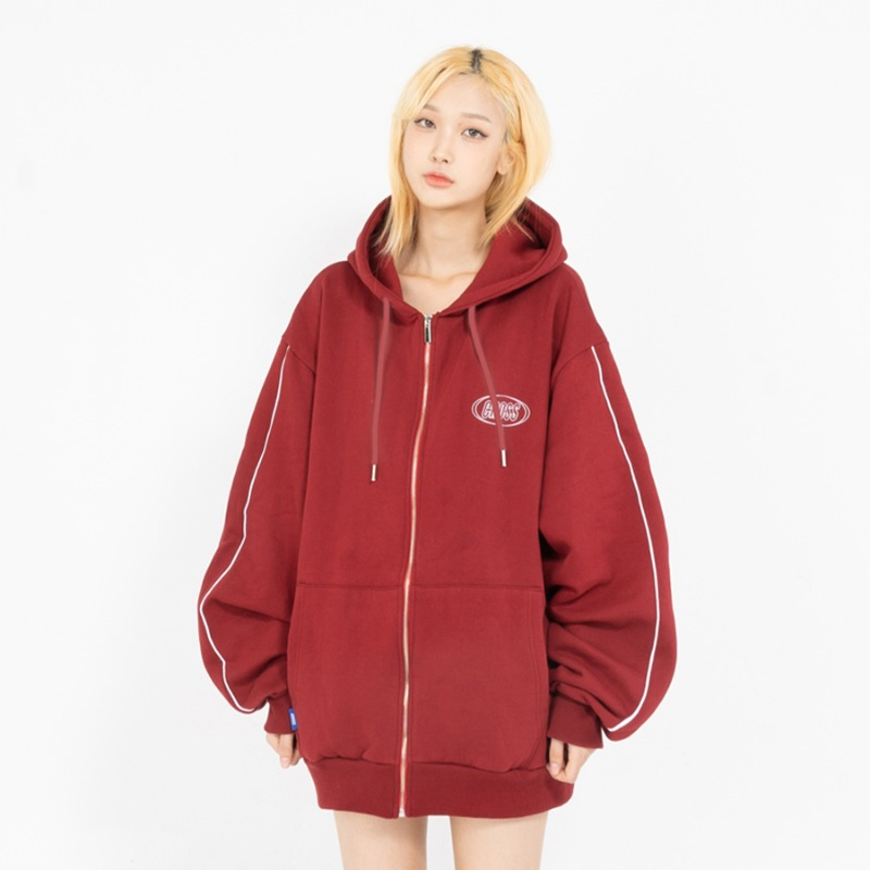 CIRCLE LOGO ZIP-UP_BURGUNDY