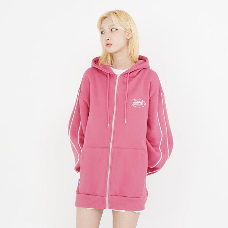 CIRCLE LOGO ZIP-UP_ROSE PINK