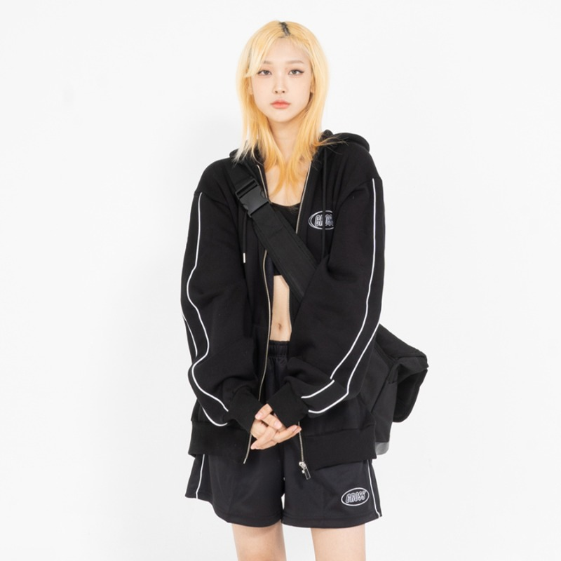 CIRCLE LOGO ZIP-UP_BLACK