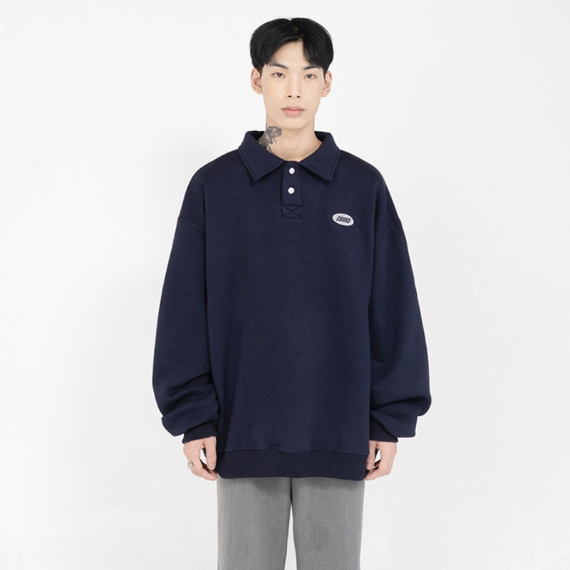 CIRCLE LOGO COLLAR SWETSHIRTS_NAVY