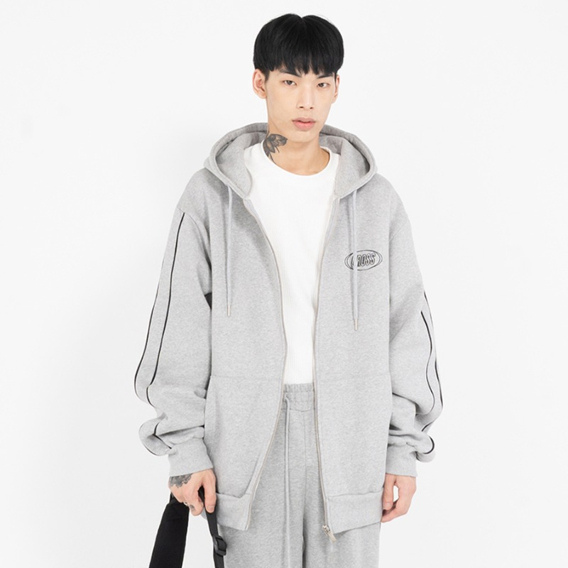 CIRCLE LOGO ZIP-UP_GREY