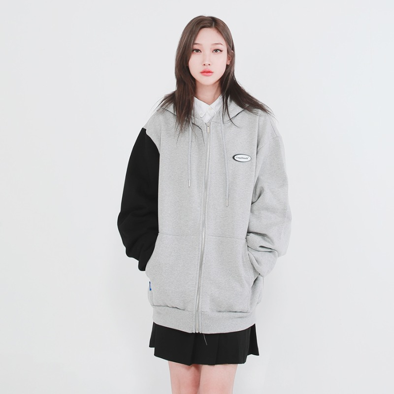 COOKIE BLOCK ZIP-UP_GREY